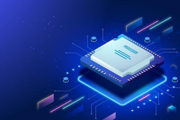 Realistische microchip processor achtergrond