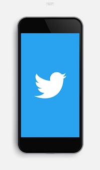 Realistische mobiele telefoon met toepassingsafbeelding op de achtergrond van het scherm. vector illustratie.