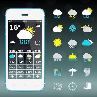 Realistische mobiele telefoon met weersvoorspelling widget mobiele applicatie-sjabloon