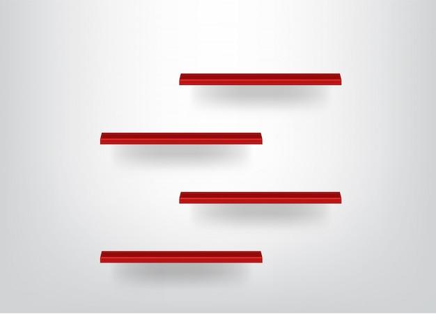 Realistische mock-up lege rode planken