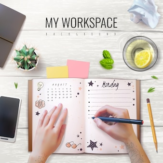 Realistische mockup-dagboekidentiteit op de werkplek