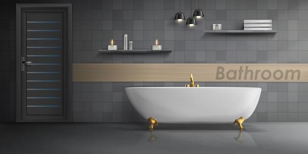 Realistische mockup van badkamer interieur met grote witte keramische badkuip, gouden metalen kraan
