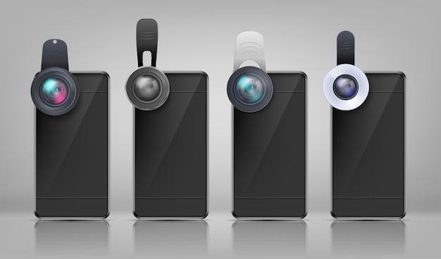 Realistische mockup, zwarte smartphones met verschillende clip-on lenzen