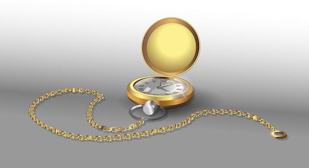 Realistische modellen van gouden zakhorloge met ketting.