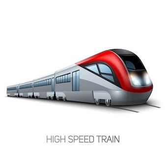 Realistische moderne treinlocomotief van de hoge snelheid op spoorweg