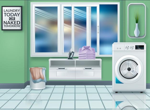 Realistische moderne wasmachine in lege wasruimte