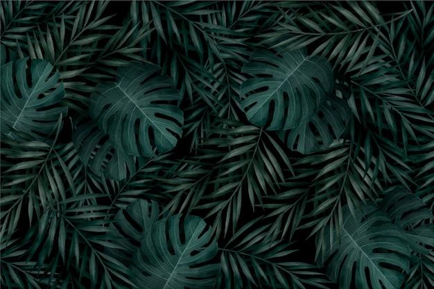 Realistische monochromatische tropische bladerenachtergrond