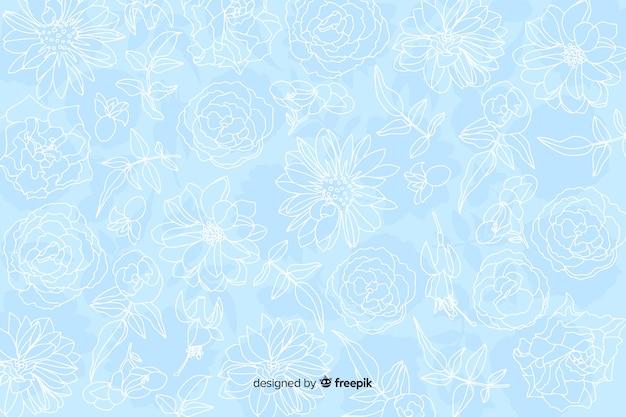 Realistische monochrome bloemen op pastel achtergrond