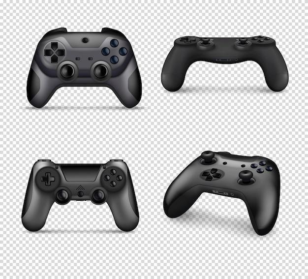 Realistische monochrome set van verschillende modellen controllers