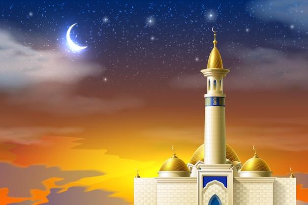 Realistische moslimmoskee op achtergrond van nachtsterhemel met maan