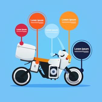 Realistische motorfiets off-road fiets hybride elektrische motor sjabloon infographic elementen op terwijl