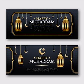 Realistische muharram-banners ingesteld