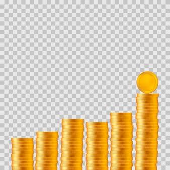 Realistische munten met grafiek