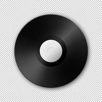 Realistische muziek grammofoon vinyl lp record icoon. sjabloon van retro long play.