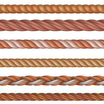 Realistische naadloze patroon touw en nautische kabels vector set geïsoleerd
