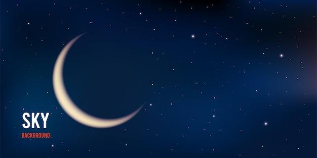 Realistische nachtelijke hemel met maan en sterren