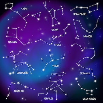 Realistische nachtelijke hemel poster met sterrenbeelden