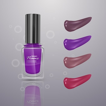 Realistische nagellak, 3d illustratie, verzameling van slagen van nagellak verschillende kleuren geïsoleerd