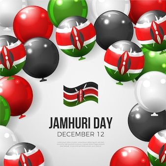 Realistische nationale jamhuri-dag in kenia met ballonnen