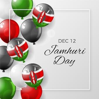 Realistische nationale kenia-dag met ballonnen