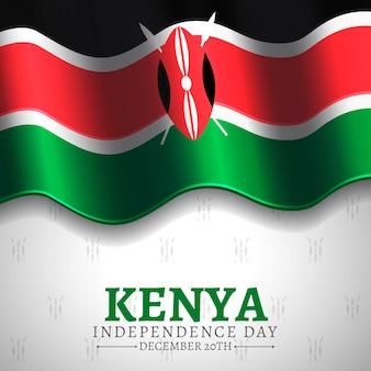 Realistische nationale vlag en symbool van de kenia jamhuri-dag