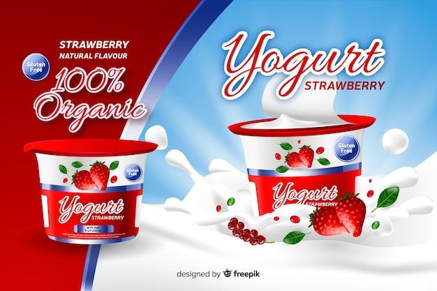 Realistische natuurlijke aardbei yoghurt advertentie