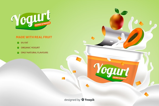 Realistische natuurlijke advertentie van papaja-yoghurt