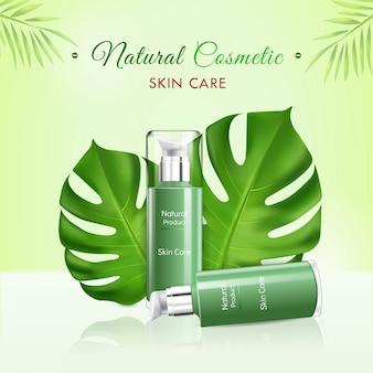 Realistische natuurlijke cosmetica met huidverzorgingsproduct