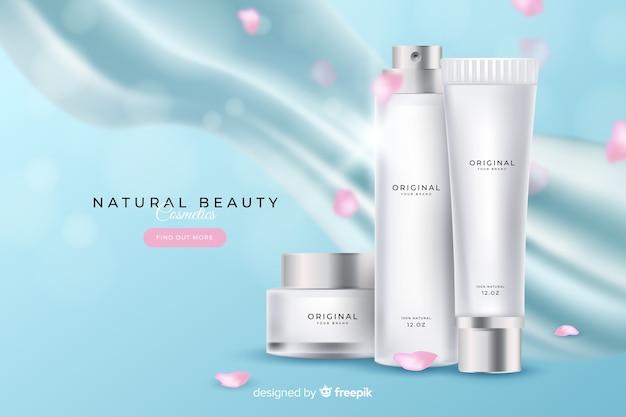 Realistische natuurlijke cosmetische advertentie
