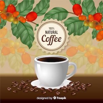 Realistische natuurlijke koffie-advertentie in vintage stijl