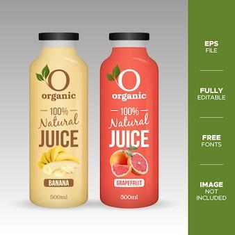 Realistische natuurlijke vruchtensap glazen fles mockup