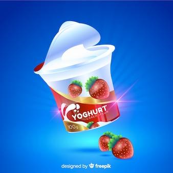 Realistische natuurlijke yoghurt advertentie achtergrond