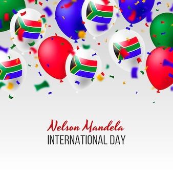 Realistische nelson mandela international day-illustratie