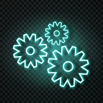 Realistische neon tandwielen op de transparante achtergrond voor decoratie en bekleding. concept van service en reparatie.