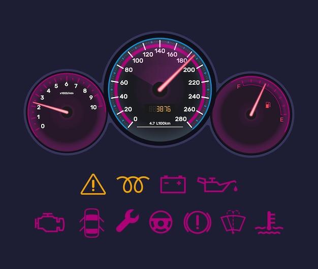 Realistische neonlicht auto dashboard indicator interface. tellerbediening met snelheidsmeter