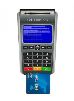 Realistische nfc pos-terminal voor betaling met bug bsod-foutmelding op wit