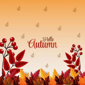 Realistische nieuwe elementen hallo herfst met bladeren achtergrond vector