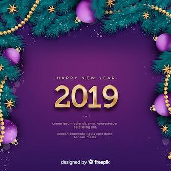 Realistische nieuwe jaar 2019 achtergrond