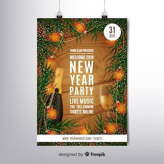 Realistische nieuwe jaar 2019 flyer-sjabloon