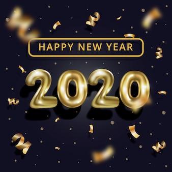 Realistische nieuwe jaar 2020 ballonnen achtergrond