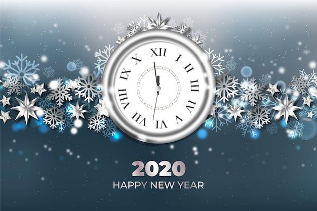 Realistische nieuwe jaar 2020 klok achtergrond