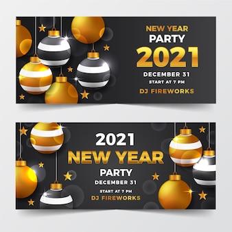 Realistische nieuwe jaar 2021 partij banners sjabloon
