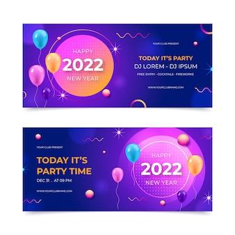Realistische nieuwe jaar horizontale banners set