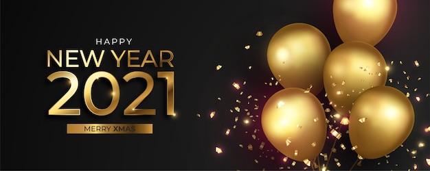 Realistische nieuwe jaarbanner met gouden ballonnen en confetti