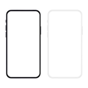 Realistische nieuwe versie van zwart-wit slanke smartphone met leeg wit scherm