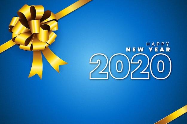 Realistische nieuwjaar 2020-achtergrond met gouden geschenkboog