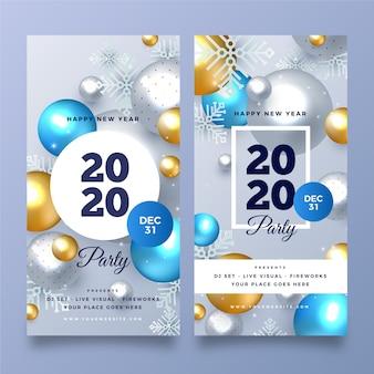 Realistische nieuwjaar 2020 feestbanners
