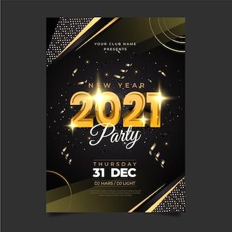 Realistische nieuwjaar 2021 partij poster sjabloon