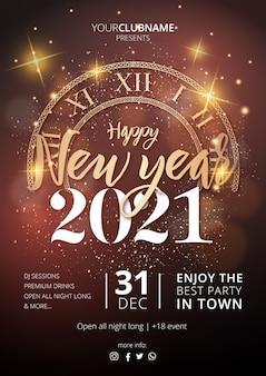 Realistische nieuwjaarsfeest poster sjabloon