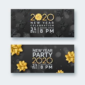 Realistische nieuwjaarspartijbanners